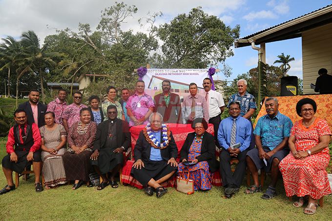 Stakeholders take a group photo with Rev Epineri Vakadewavosa at Dilkusha High School on November 1, 2019. Photo: Kelera Sovasiga
