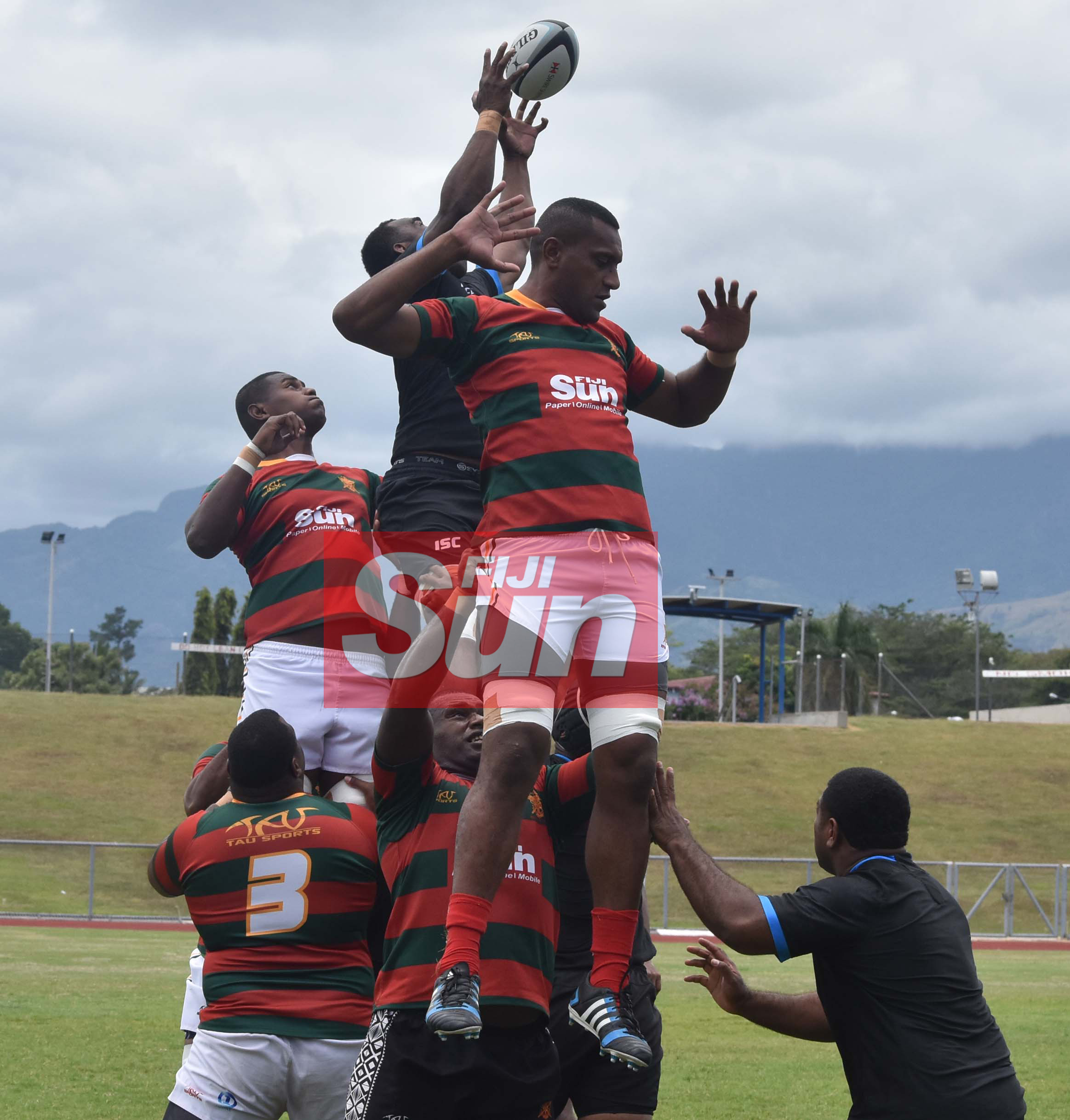 Flying Fijians Mosese Voka wins a lineout against RFMF team during training at the Churchill park, Lautoka yesterday. Photo: WAISEA NASOKIA