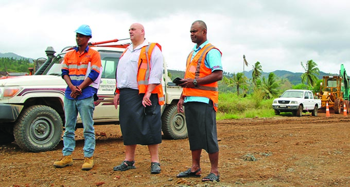 The Fiji Roads Authority chief executive officer, Jonathan Moore (middle), in the Northern Division.