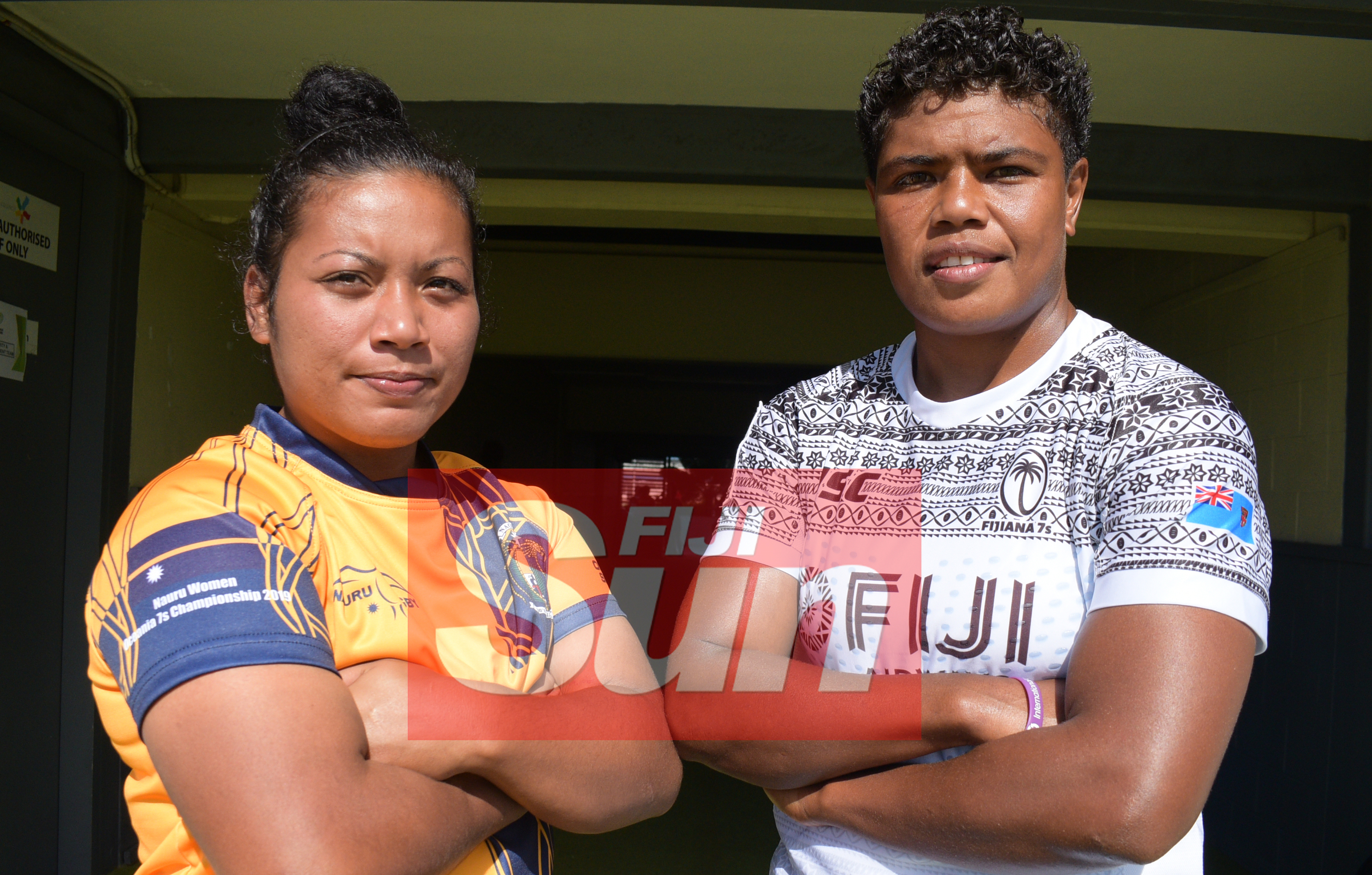 Ready for the Oceania Sevens Championship womens competition opening match Nauru Captain Ashleigh Debao (left) and Rusila Naqasau at ANZ Stadium on November 11, 2019. Photo: Ronald Kumar.