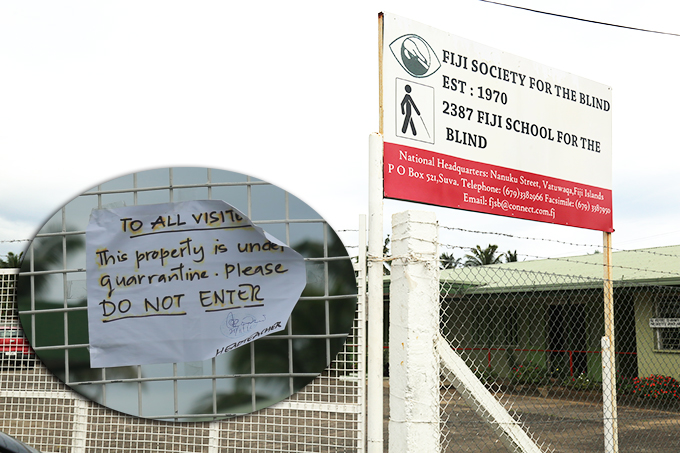 The main gate at the Fiji School for the Blind in Vatuwaqa, Suva, on November 21. 2019 with the quarantine notice pasted on it. Photo: Kelera Sovasiga