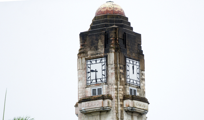 The clock at Government Building shows different time on each clock. Photo: Ronald Kumar.