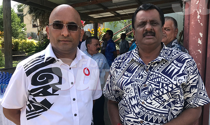 From left: Vodafone Fiji Limited Regional chief executive officer Pradeep Lal and Minister for Youth and Sport, Parveen Bala during the late Daniel Elisha's funeral in Ba on November 5, 2019. Photo: Charles Chambers