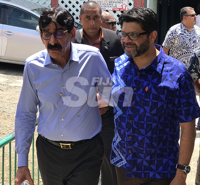 From left: Ba businessman, Hari Raniga and Attorney-General Aiyaz Sayed-Khaiyum arriving for the late Daniel Elisha's funeral in Ba on November 5, 2019. Photo: Charles Chambers
