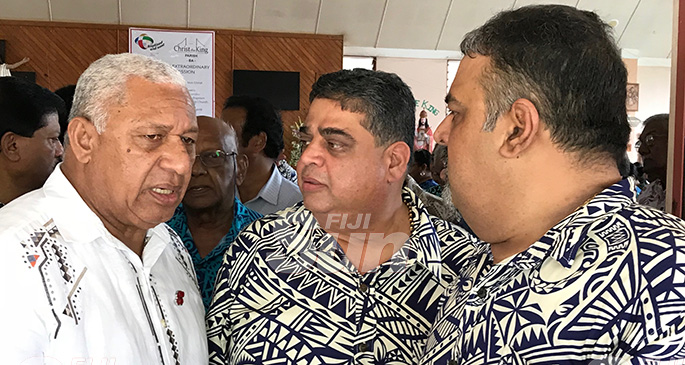 From left: Prime Minister Voreqe Bainimarama with R. C. Manubhai & Co. Pte. Ltd directors Rajesh Patel and Pravesh Patel after the funeral service for Daniel Elisha in Ba on on November 5, 2019 . hoto: Charles Chambers
