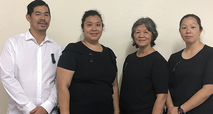 From left: Edward Harm Nam's family,  Nathaniel, Felicia, wife Cathy and Glynis on November 2, 2019.