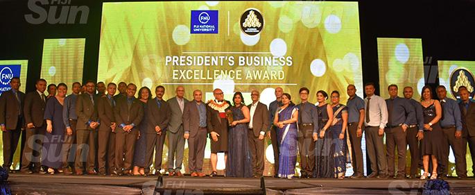 Jack's of Fiji staff receive the President's Business Excellence award from President Major-General (Ret'd) Jioji Konrote during the Fiji National University 2019 Fiji Business Excellence Awards at the Sheraton Fiji Resort, Denarau, Nadi on November 2, 2019. Photo: Waisea Nasokia