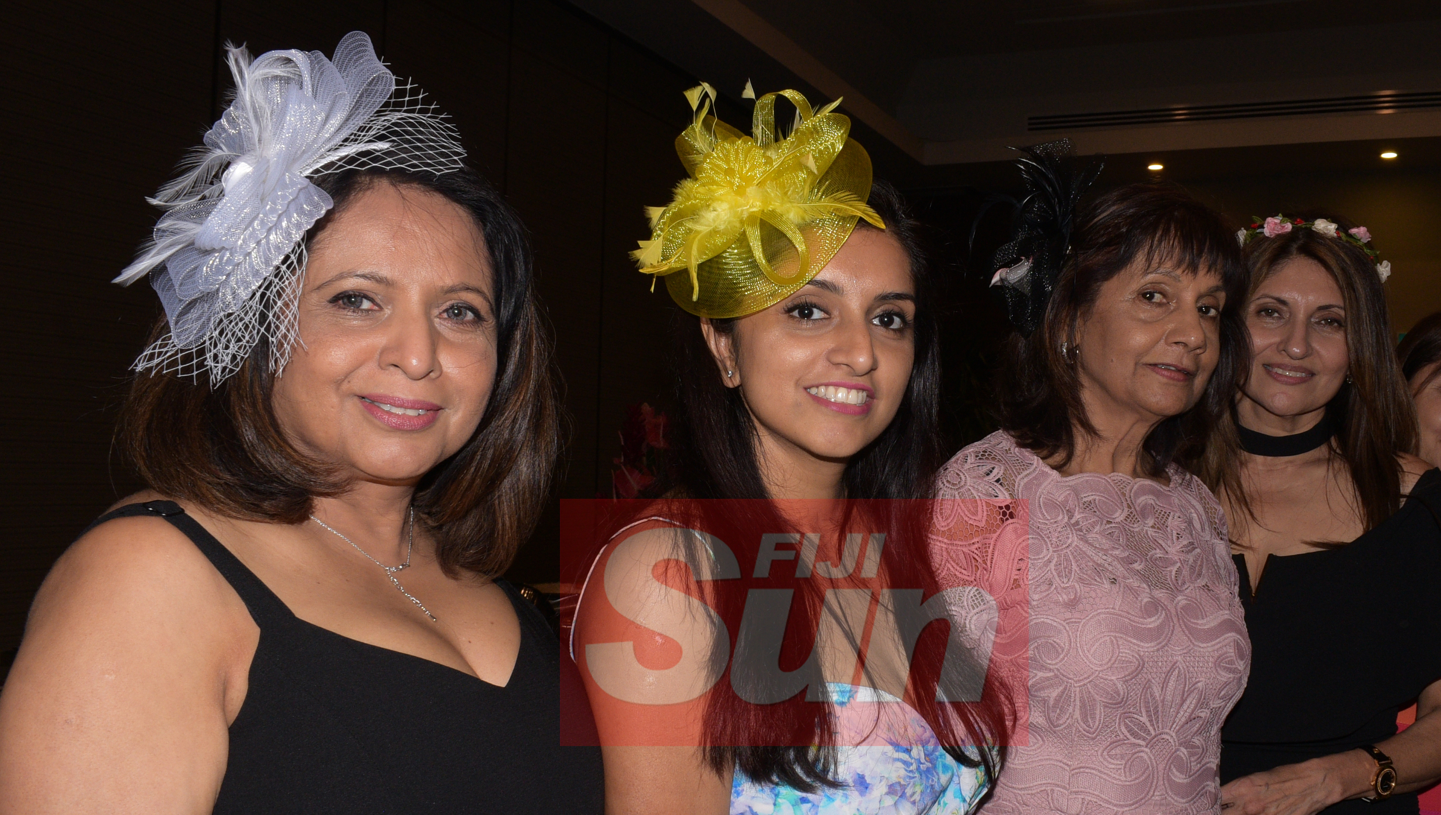 From left-Nita Rathod, Trisha Gokal, Aruna Prasad and Meena Kekishan with their special Melbourne cup hats during Rotary Club Suva organized Melbourne Cup race event at Grand Pacific Hotel on November 5, 2019. Photo: Ronald Kumar.