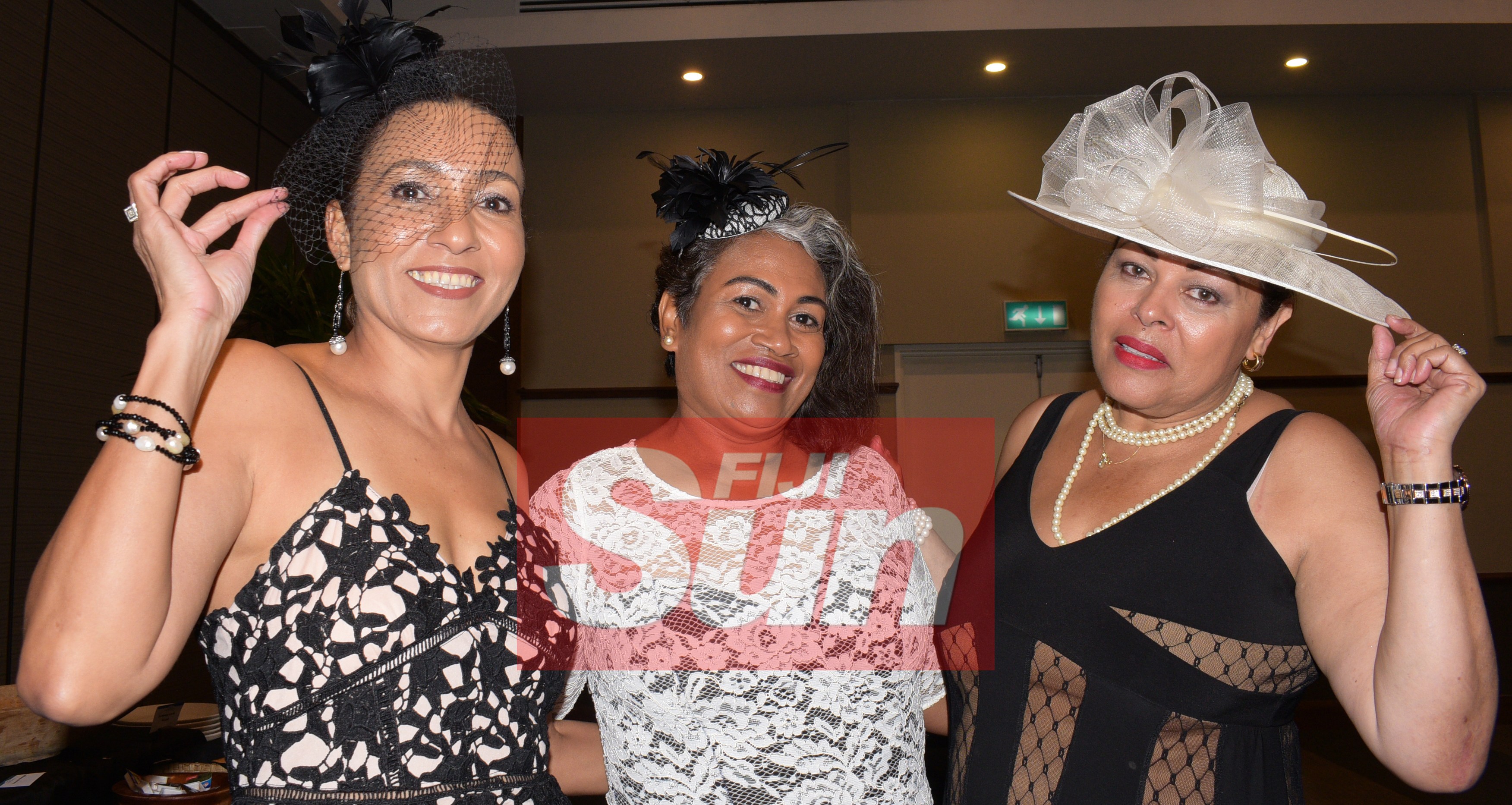 From left-Judy Compain, Mereita Mcarthy and Mere Nageshwar with their special Melbourne cup hats during Rotary Club Suva organized Melbourne Cup race event at Grand Pacific Hotel on November 5, 2019. Photo: Ronald Kumar.