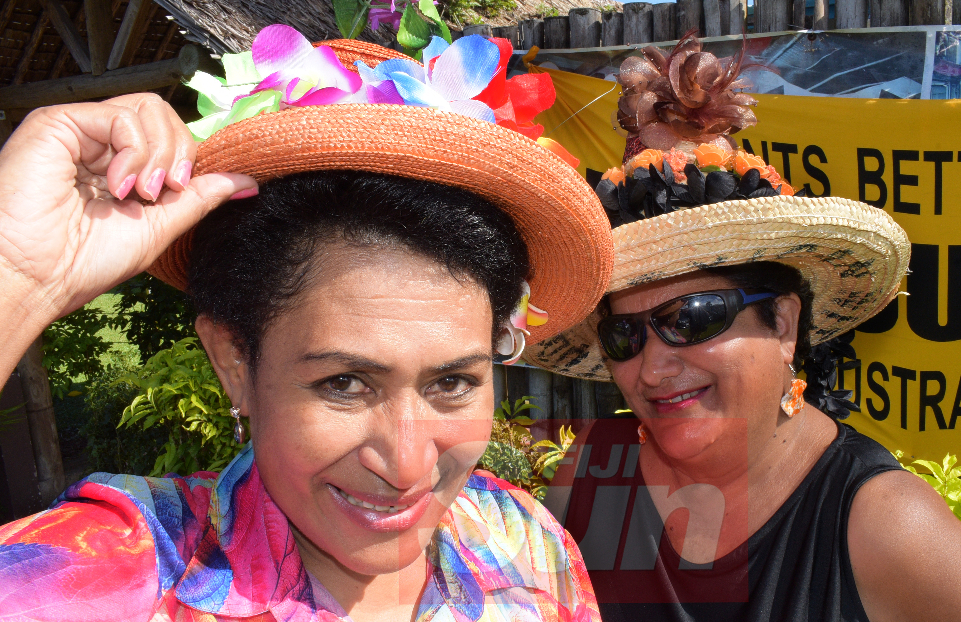 Theresa Senimilivuki (left) and Malti Dumaru with their special Melbourne cup hats at Bowling Club in Suva on November 5, 2019. Photo: Ronald Kumar.