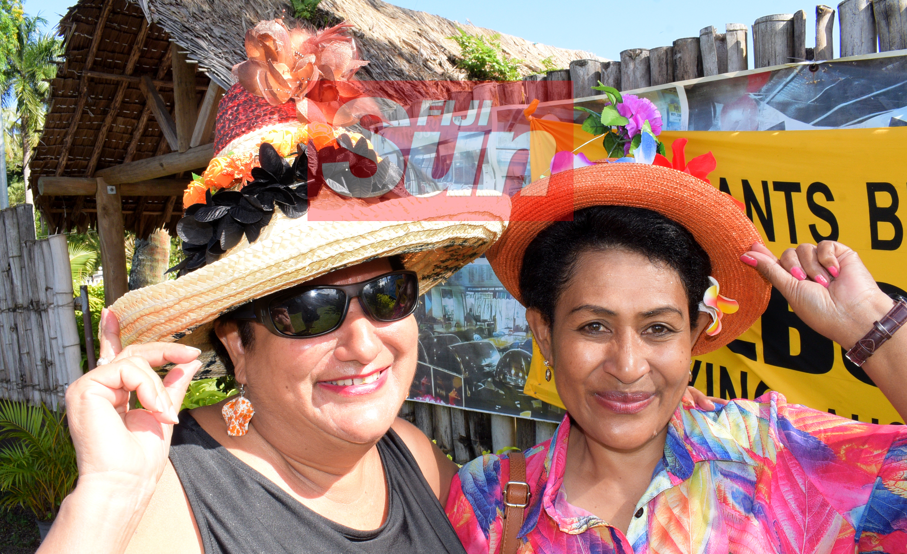 Malti Dumaru (left) Theresa Senimilivuki with their special Melbourne cup hats at Bowling Club in Suva on November 5, 2019. Photo: Ronald Kumar.