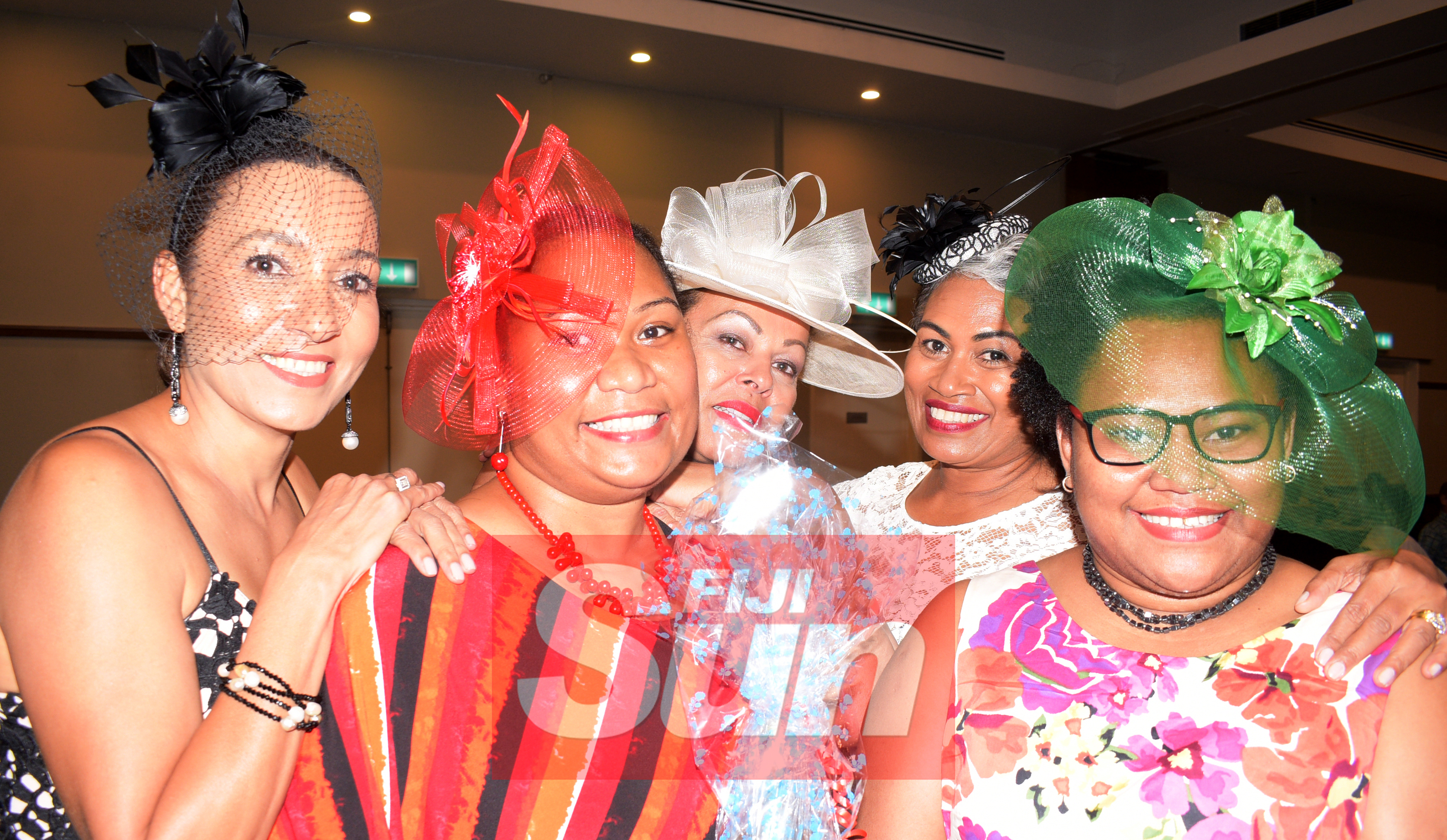 From left-Judy Compain, Lei Lanyon, Mere Nageshwar Mereita Mcarthy and Mereti Cokanasiga with their special Melbourne cup hats during Rotary Club Suva organized Melbourne Cup race event at Grand Pacific Hotel on November 5, 2019. Photo: Ronald Kumar.