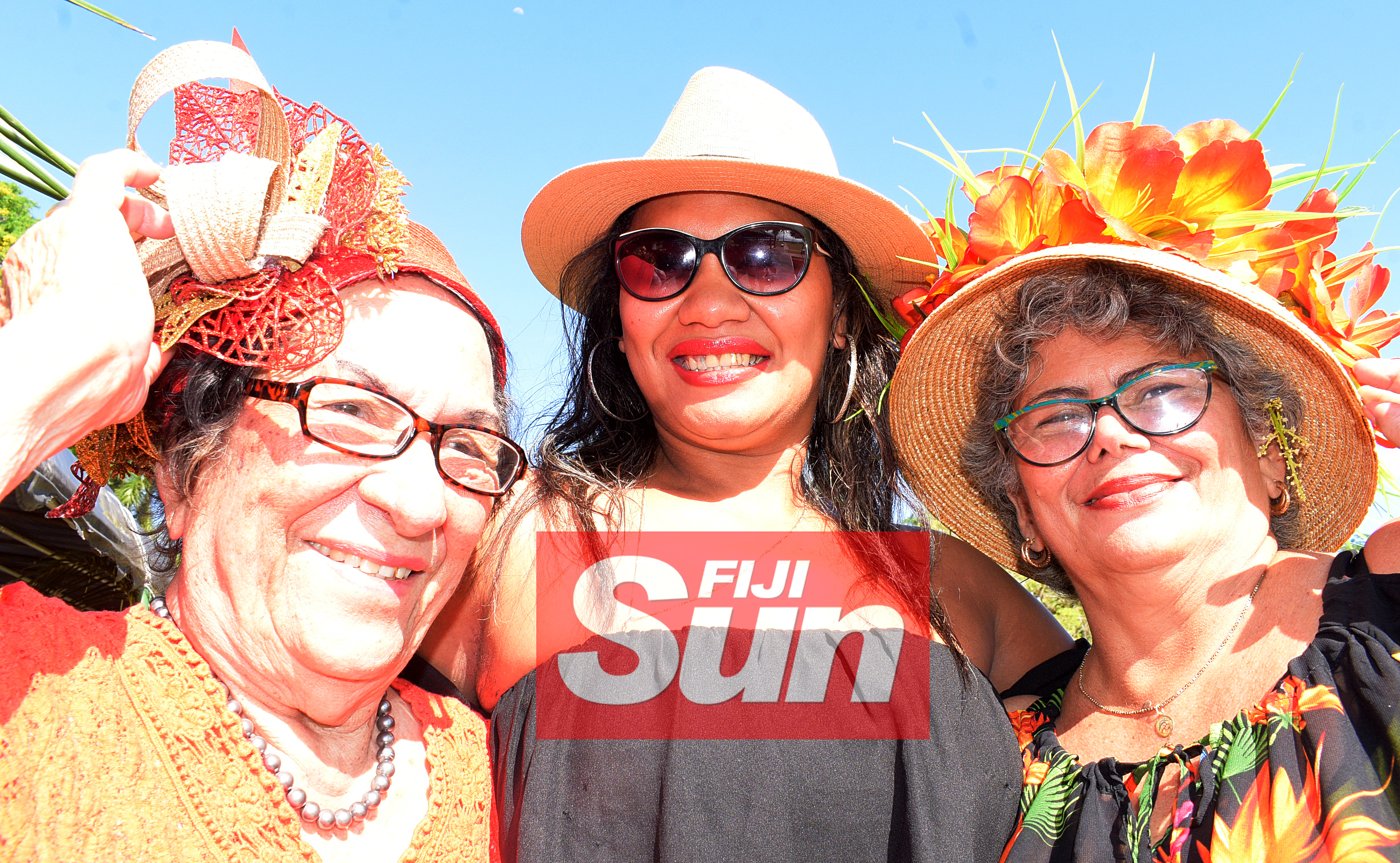 From left-Betty Olssen , Unaisi Adiwaituirua and Talei Foi with their special Melbourne cup hats at Bowling Club in Suva on November 5, 2019. Photo: Ronald Kumar.