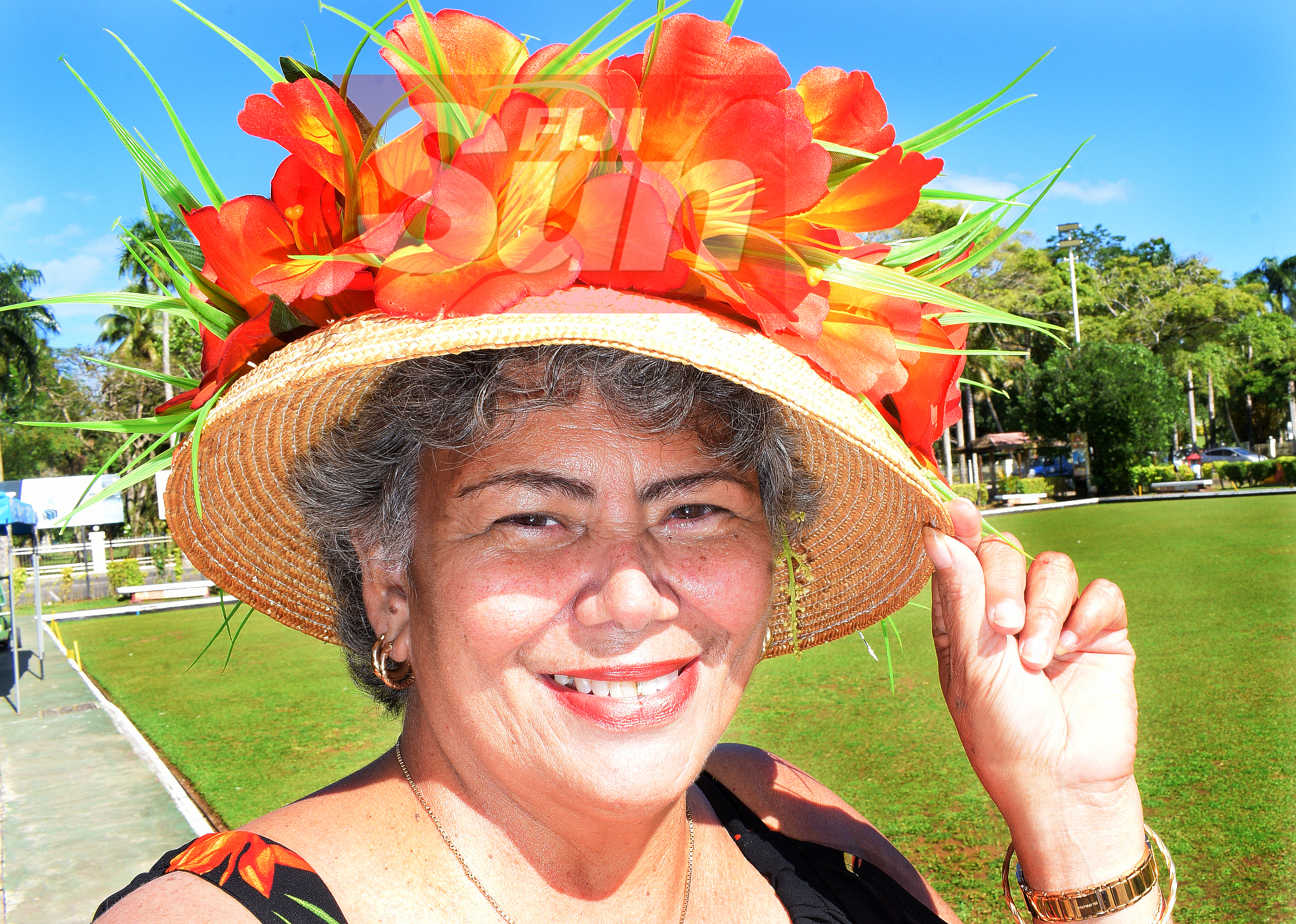 Talei Foi with her special Melbourne cup hats at Bowling Club in Suva on November 5, 2019. Photo: Ronald Kumar.