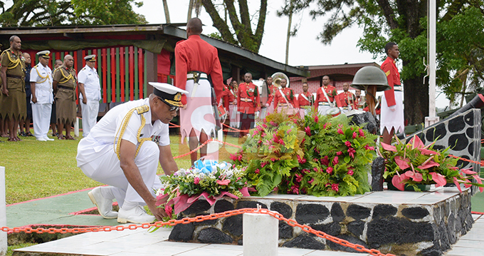 Republic of Fiji Military Forces (RFMF) Commander Rear Admiral Viliame Naupoto Viliame Naupoto laid the wreath to remember those who died at Queens Elizabeth Barracks during 2nd November, 2000 mutiny during Remembrance Day church service on 2 November, 2019 . Photo: Ronald Kumar.