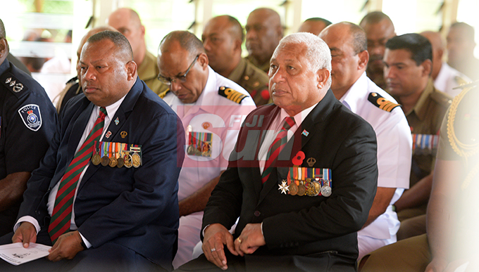 Prime MInister Voreqe Bainimarama and Defense Minister Inia Seruiratu during Republic of Fiji Military Forces (RFMF)  Mutiny Remembrance Day Church service at Queens Elizabeth Barracks  on 2 November, 2019. Photo: Ronald Kumar.