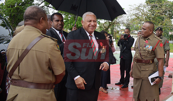 Prime Minister Voreqe Bainimarama during Republic of Fiji Military Forces (RFMF)  Mutiny Remembrance Day Church service at Queens Elizabeth Barracks  on 2 November, 2019. Photo: Ronald Kumar.