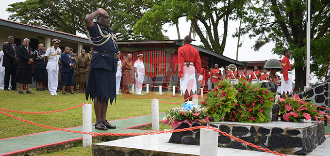 Acting Commissioner of Police Rusiate Tudravu laid the wreath to remember those who died at Queens Elizabeth Barracks during 2nd November, 2000 mutiny during Remembrance Day church service on 2 November, 2019. Photo: Ronald Kumar.
