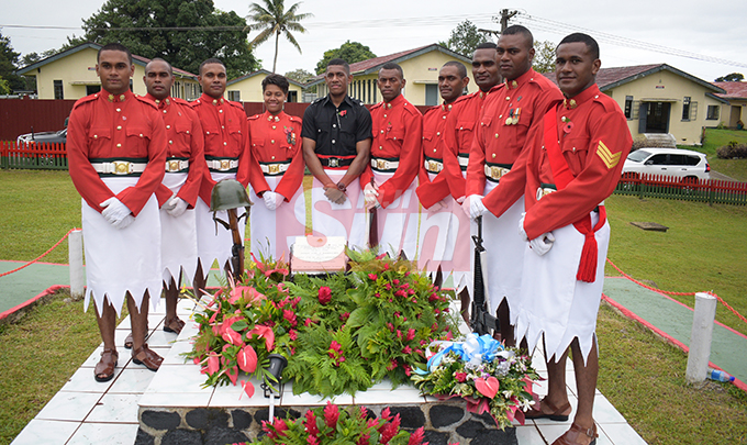 Members of Republic of Fiji Military Forces (RFMF) and Fiji Poice Force during 2nd November, 2000 mutiny Remembrance Day at QEB  on 2 November, 2019. Photo: Ronald Kumar.