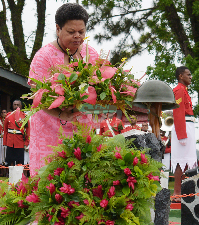 Salanieta Rawaileba laid the wreath to remember her husband who died during Republic of Fiji Military Forces (RFMF) 2nd November, 2000 Mutiny during  Remembrance Day at Queens Elizabeth Barracks  on 2 November, 2019. Photo: Ronald Kumar.