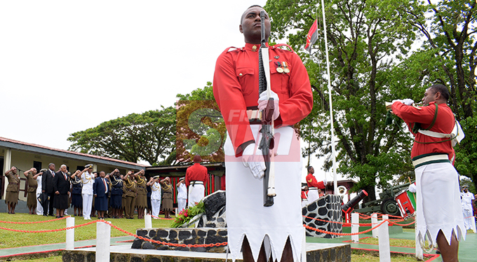 Prime Minister Voreqe Bainimarama togeher with Republic of Fiji Military Forces (RFMF) 2nd November, 2000 Mutiny Remembrance Day at Queens Elizabeth Barracks  on 2 November, 2019. Photo: Ronald Kumar.