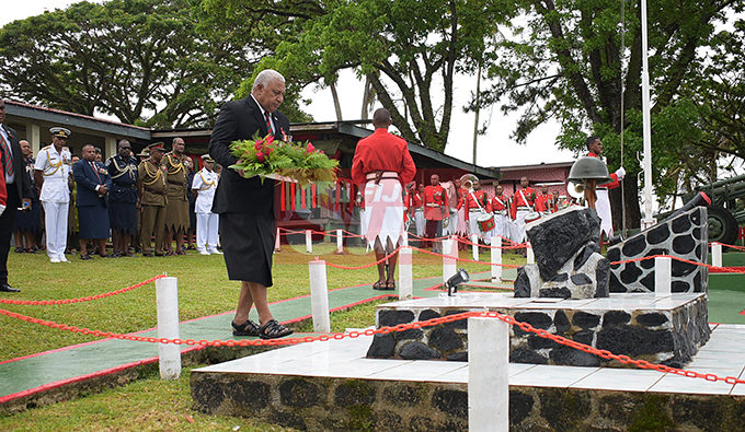 Prime Minister Voreqe Bainimarama laid the wreath to remember those who died at Queens Elizabeth Barracks during 2nd November, 2000 mutiny during Remembrance Day church service on 2 November, 2019. Photo: Ronald Kumar.