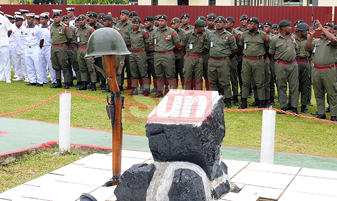 Republic of Fiji Military Forces (RFMF) personnel during 2nd November, 2000 Mutiny Remembrance Day at Queens Elizabeth Barracks  on 2 November, 2019. Photo: Ronald Kumar.