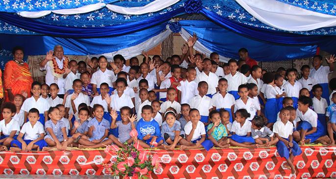 Prime Minister Voreqe Bainimarama with students of Navuso Primary School in Navuso, Naitasiri on November 4, 2019.