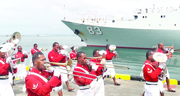 Members of the Republic of the Fiji Military Forces band welcome the ship Qi Juguang at the Port of Suva on November 4, 2019. Photo: Inoke Rabonu