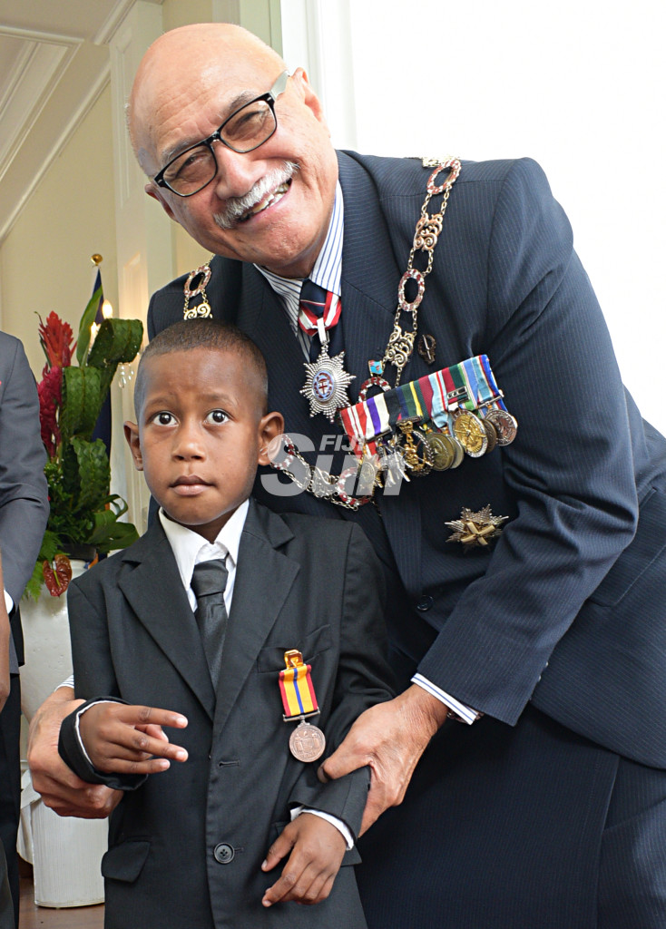 Bravery Medal recipient Aqoriniasi Dreu 5, with President Major-General (Ret'd)Jioji Konrote after following the Order of Fiji investiture ceremony at State House on November 29, 2019. Photo: Ronald Kumar.      .