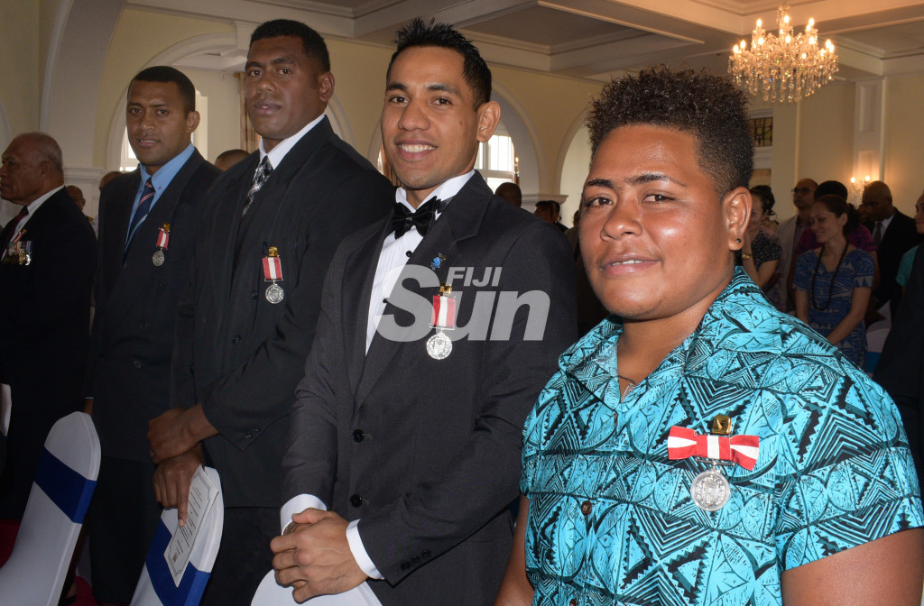 From left-Samisoni Viriviri (former National Sevens rep), Kalione Nasoko (former National Sevens Captain), Winston Hill (Boxing) and Apolonia  Vaivai (National Weight lifting)after receiving Medal of the Order of Fiji from President Major-General (Ret'd)Jioji Konrote during Order of Fiji investiture ceremony at State House on November 29, 2019. Photo: Ronald Kumar.