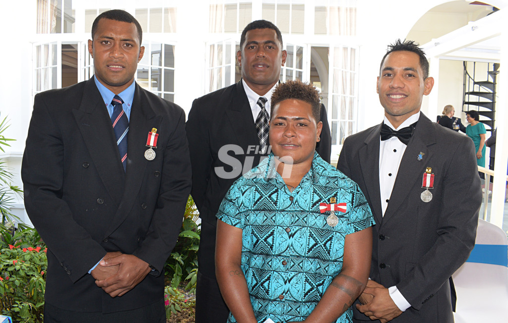 From left-Samisoni Viriviri (former National Sevens rep), Kalione Nasoko (former National Sevens Captain), Apolonia  Vaivai (National Weight lifting) and Winston Hill (Boxing) after receiving Medal of the Order of Fiji from President Major-General (Ret'd)Jioji Konrote during Order of Fiji investiture ceremony at State House on November 29, 2019. Photo: Ronald Kumar.