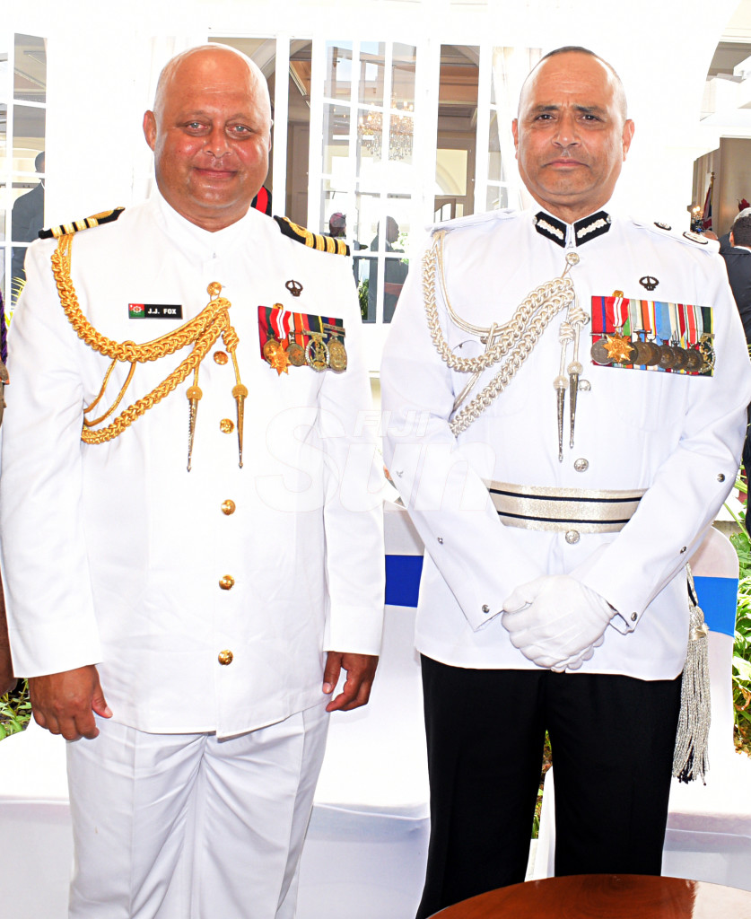 Captain (Navy) John Fox and Police Commissioner Brigadier-General Sitiveni Qiliho after receiving Officer of the Order of Fiji medal (Military Division from President Major-General (Ret'd)Jioji Konrote during Order of Fiji investiture ceremony at State House on November 29, 2019. Photo: Ronald Kumar.