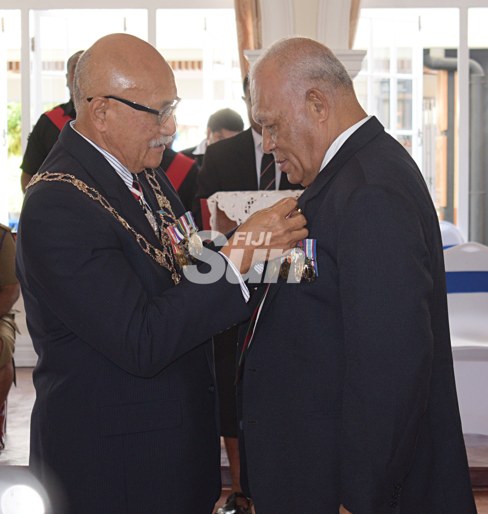 Jone Kotobalavu received Medal of the Order of Fiji (MOF) from President Major-General (Ret'd)Jioji Konrote during Order of Fiji investiture ceremony at State House on November 29, 2019. Photo: Ronald Kumar.
