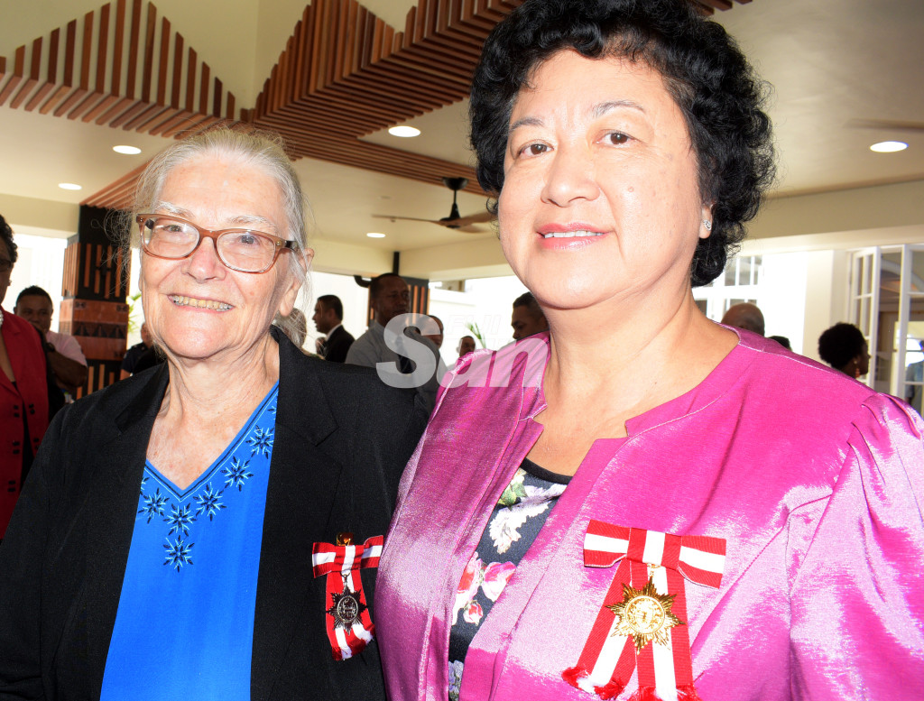 Cynara Mary Mackenzie (left) and Jenny Seeto after the Order of Fiji investiture ceremony at State House on November 29, 2019. Photo: Ronald Kumar.