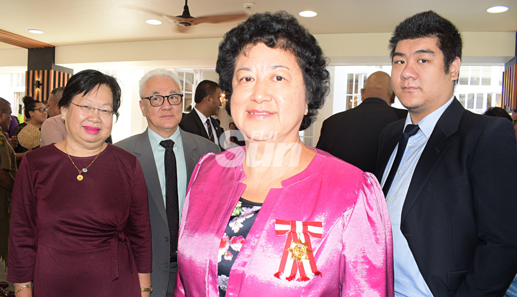 Jenny Seeto (third from left) with family members, (from left) Lorraine Seeto, Paul Chan and Gareth Seeto    after receiving Officer of the Order of Fiji (OF) medal from President Major-General (Ret'd)Jioji Konrote during Order of Fiji investiture ceremony at State House on November 29, 2019. Photo: Ronald Kumar.