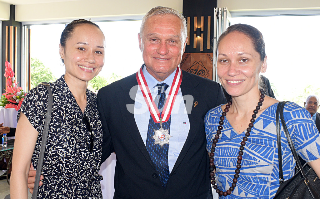 Former Reserve Bank of Fiji Governor Barry Whiteside with daughters, Georgia Whiteside and Karyn Gibson after after receiving Companion of the Order of Fiji medal from President Major-General (Ret'd)Jioji Konrote during Order of Fiji investiture ceremony at State House on November 29, 2019. Photo: Ronald Kumar.