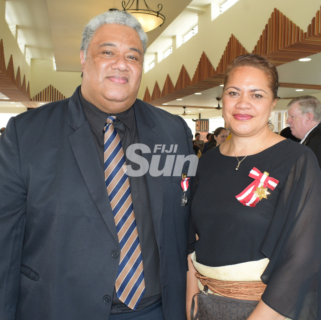 Opetaia Alefaio (left) and Sina Kami after following the Order of Fiji investiture ceremony at State House on November 29, 2019. Photo: Ronald Kumar.