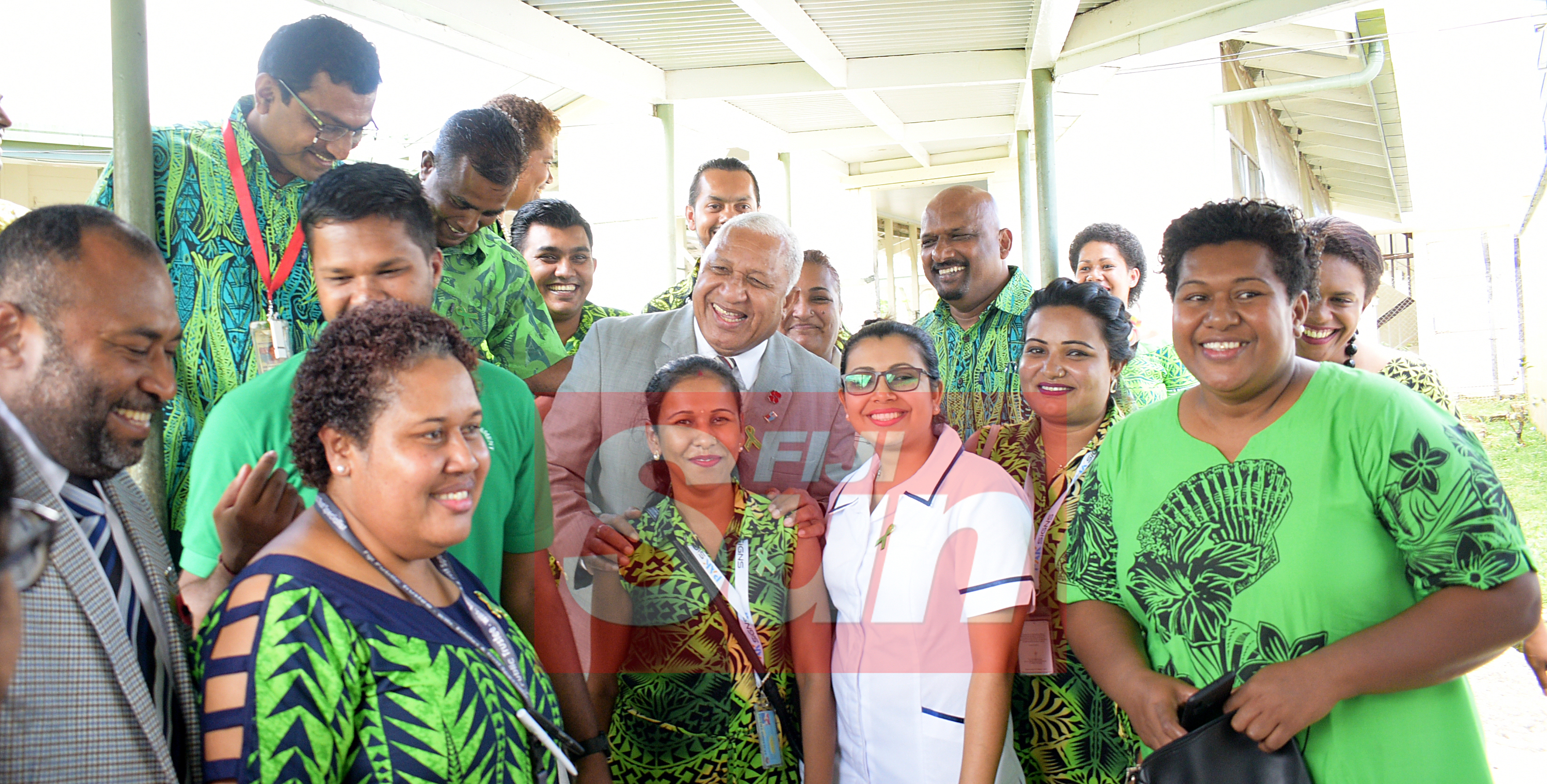 Prime Minister Voreqe Bainimarama and Minister for Health and Medical Servicers Dr. Iferemi Waqainabete with St. Giles Hospital staff after opening the Alcohol and Drug unit (AOD Unit) on November 6, 2019. Photo: Ronald Kumar.