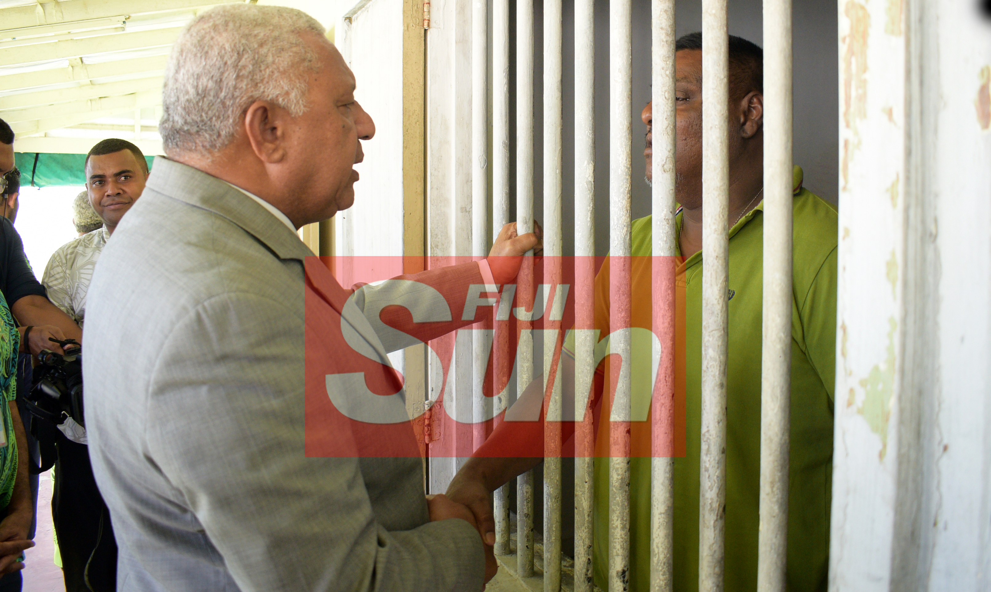 Prime Minister Voreqe Bainimarama while taking to a St. Giles patient after opening the Alcohol and Drug unit (AOD Unit) on November 6, 2019. Photo: Ronald Kumar.