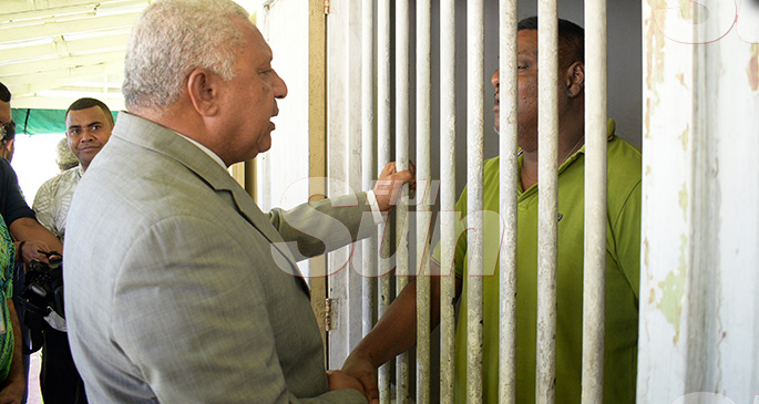 Prime Minister Voreqe Bainimarama while talking to a St. Giles patient after opening the Alcohol and Drug Unit (AOD Unit) at the hospital in Suva, on November 6, 2019. Photo: Ronald Kumar