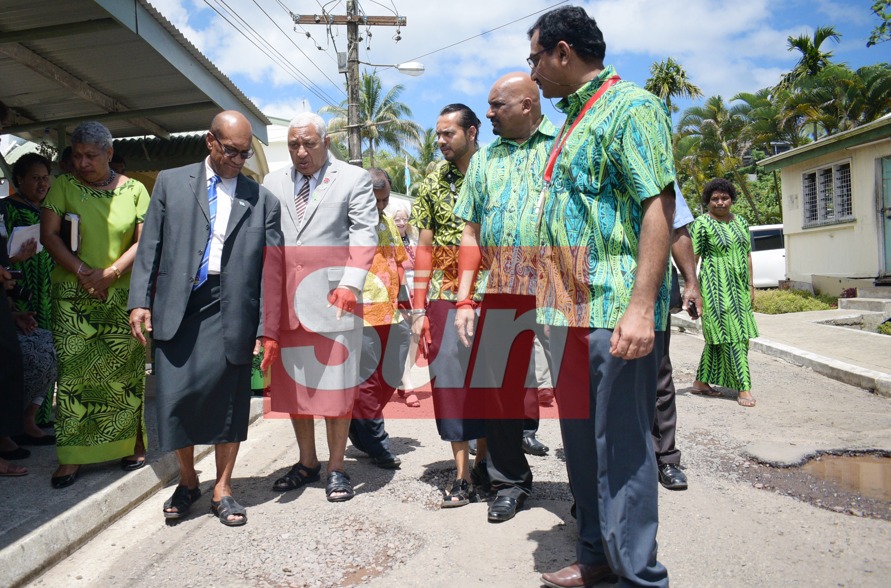 Prime Minister Voreqe Bainimarama discuss the road condition at St. Giles Hospital with Minister for Infrastructure and Transport Jone Usamate after opening the Alcohol and Drug unit (AOD Unit) at the hospital on November 6, 2019. Photo: Ronald Kumar.