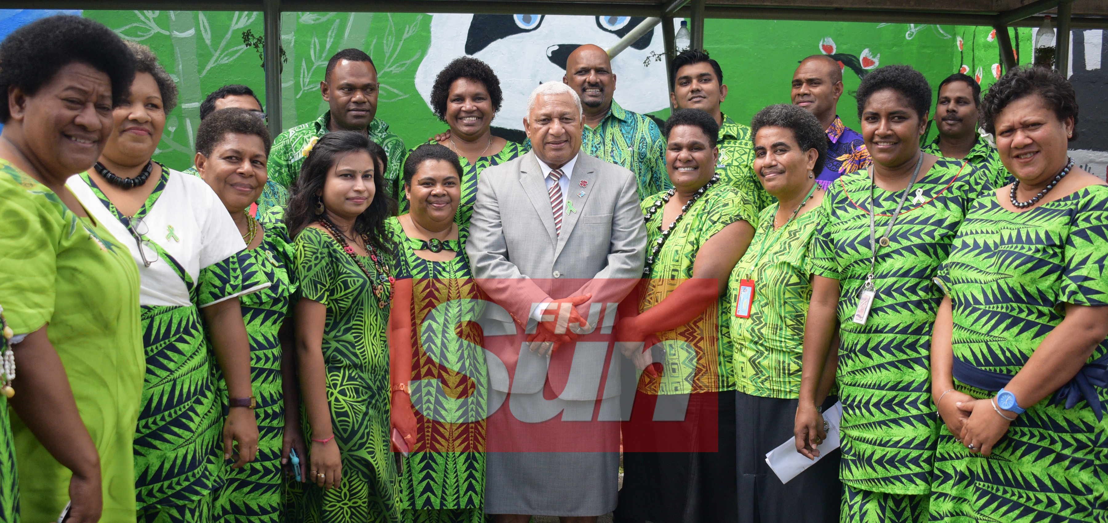Prime Minister Voreqe Bainimarama with St. Giles Hospital staff after opening the Alcohol and Drug unit (AOD Unit) at the hospital on November 6, 2019. Photo: Ronald Kumar.