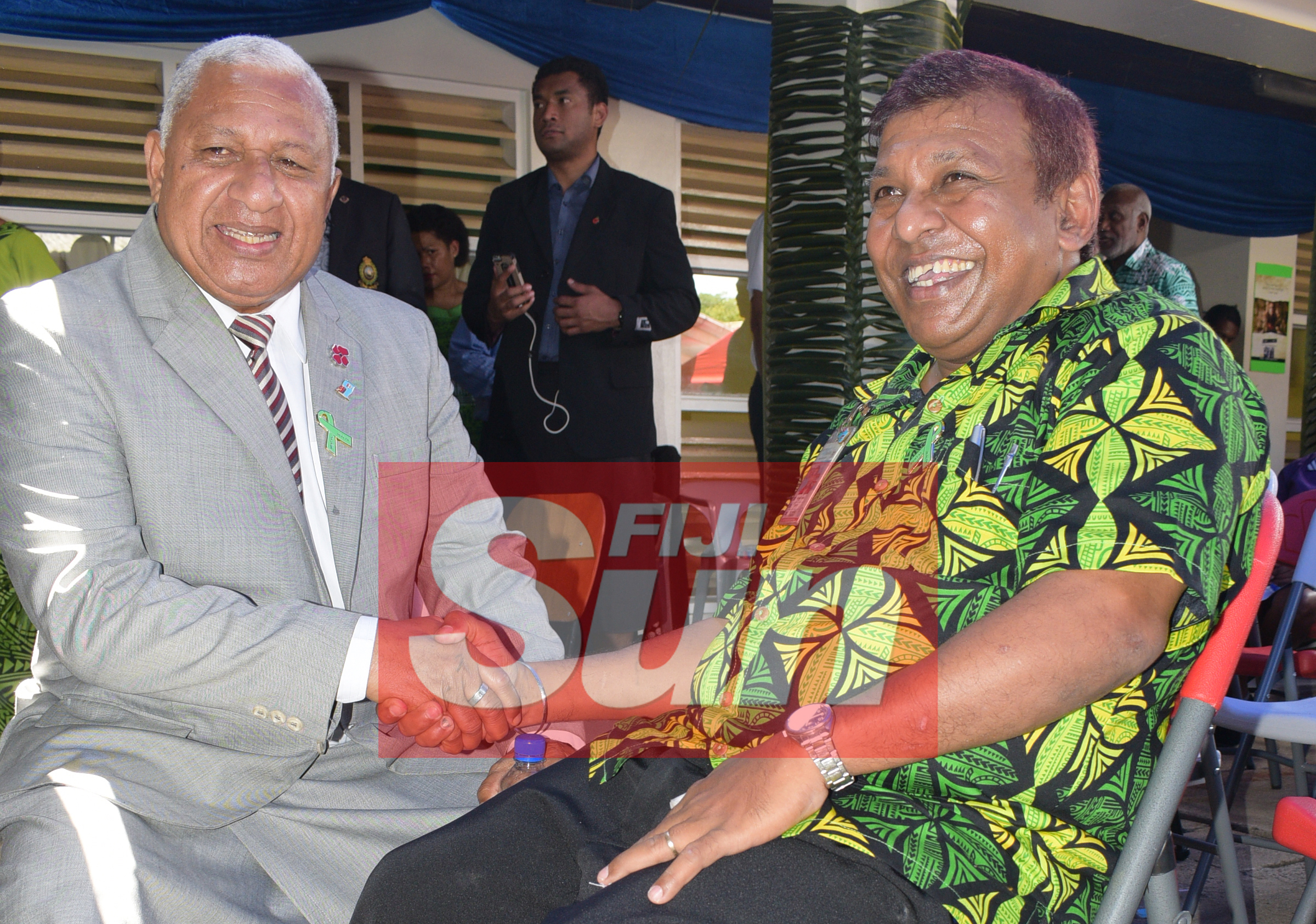 Prime Minister Voreqe Bainimarama with St. Giles Hospital operator Pranay Chand while opening the Alcohol and Drug unit (AOD Unit) at the hospital on November 6, 2019. Photo: Ronald Kumar.