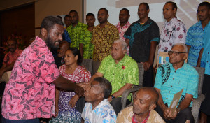 Prime Minister Voreqe Bainimarama with the landowners who were presented their Seed fund grant at Suva's Grand Pacific Hotel on November 7, 2019. Photo: Ronald Kumar