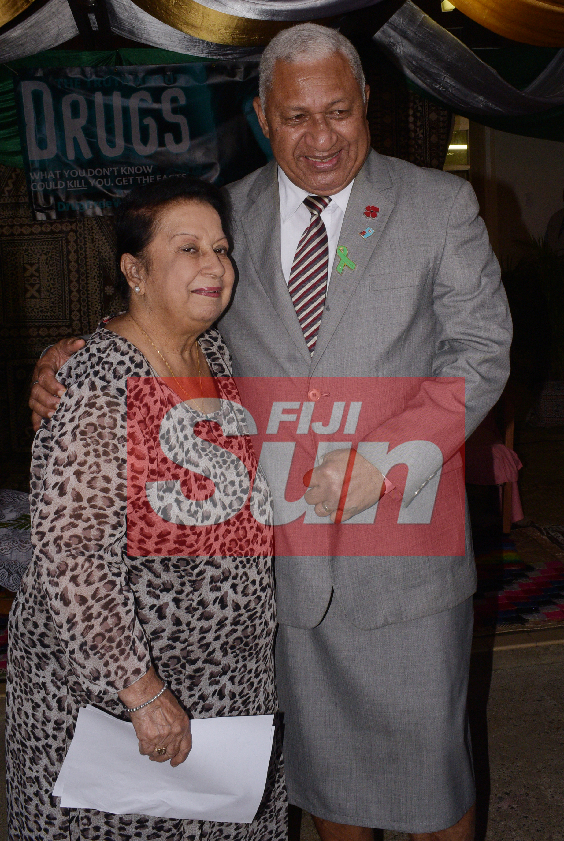 Prime Minister Voreqe Bainimarama with Elizabeth Dass 77 at St. Giles Hospital during the opening the Alcohol and Drug unit (AOD Unit) at the hospital on November 6, 2019. Photo: Ronald Kumar.