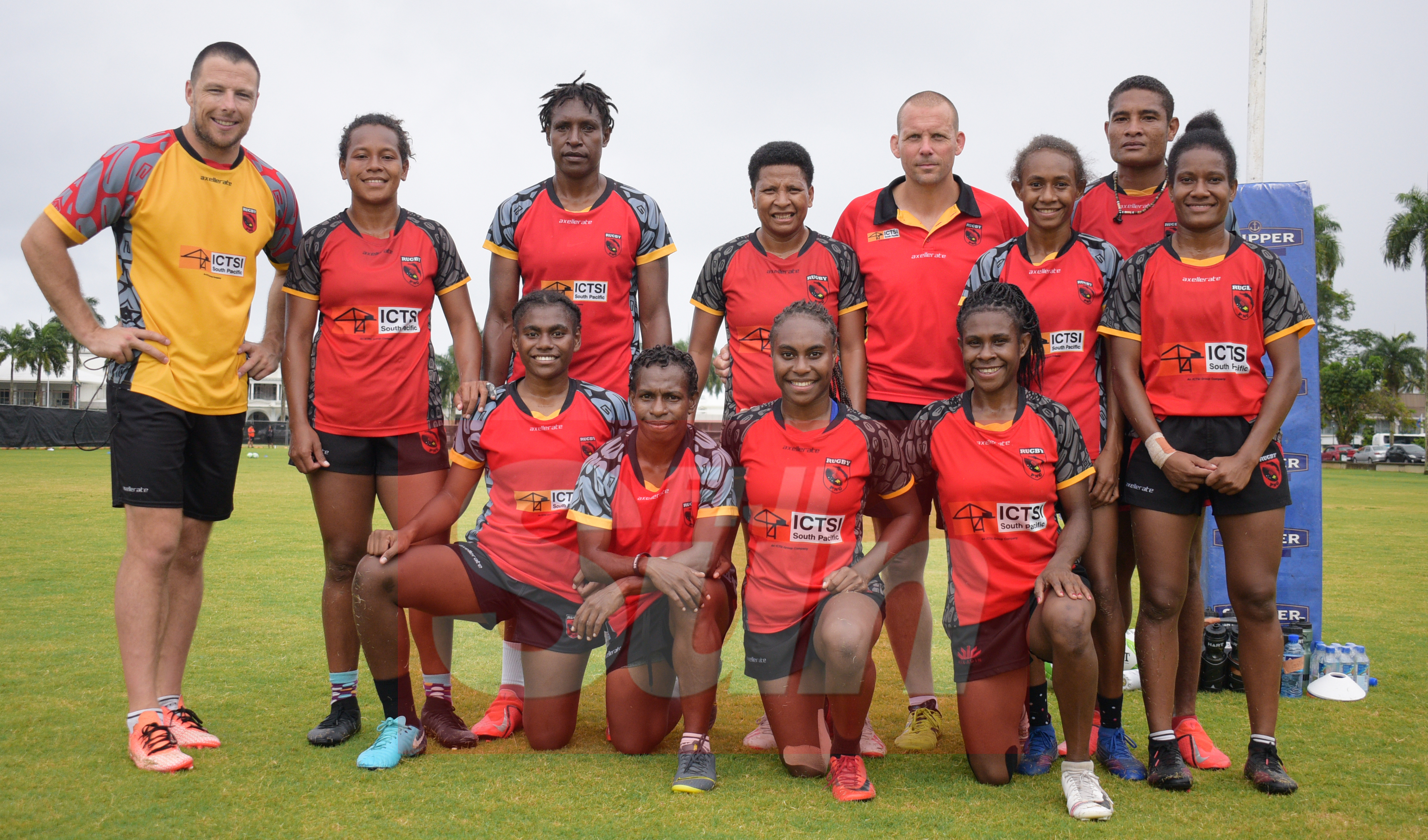 PNG Womens team with their coach Paul Tietjens (right) after training at Albert Park for Oceania Sevens Championship on November 5, 2019. Photo: Ronald Kumar.