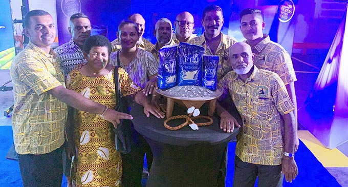 Salina Miller (fourth from left) with her colleagues at the Sugars of Fiji launch.