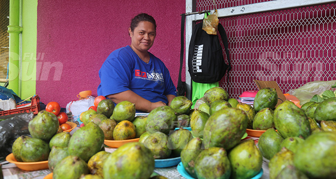 Lusiana Nanoko at one of her market stalls on November 4. 2019. Photo: Kelera Sovasiga