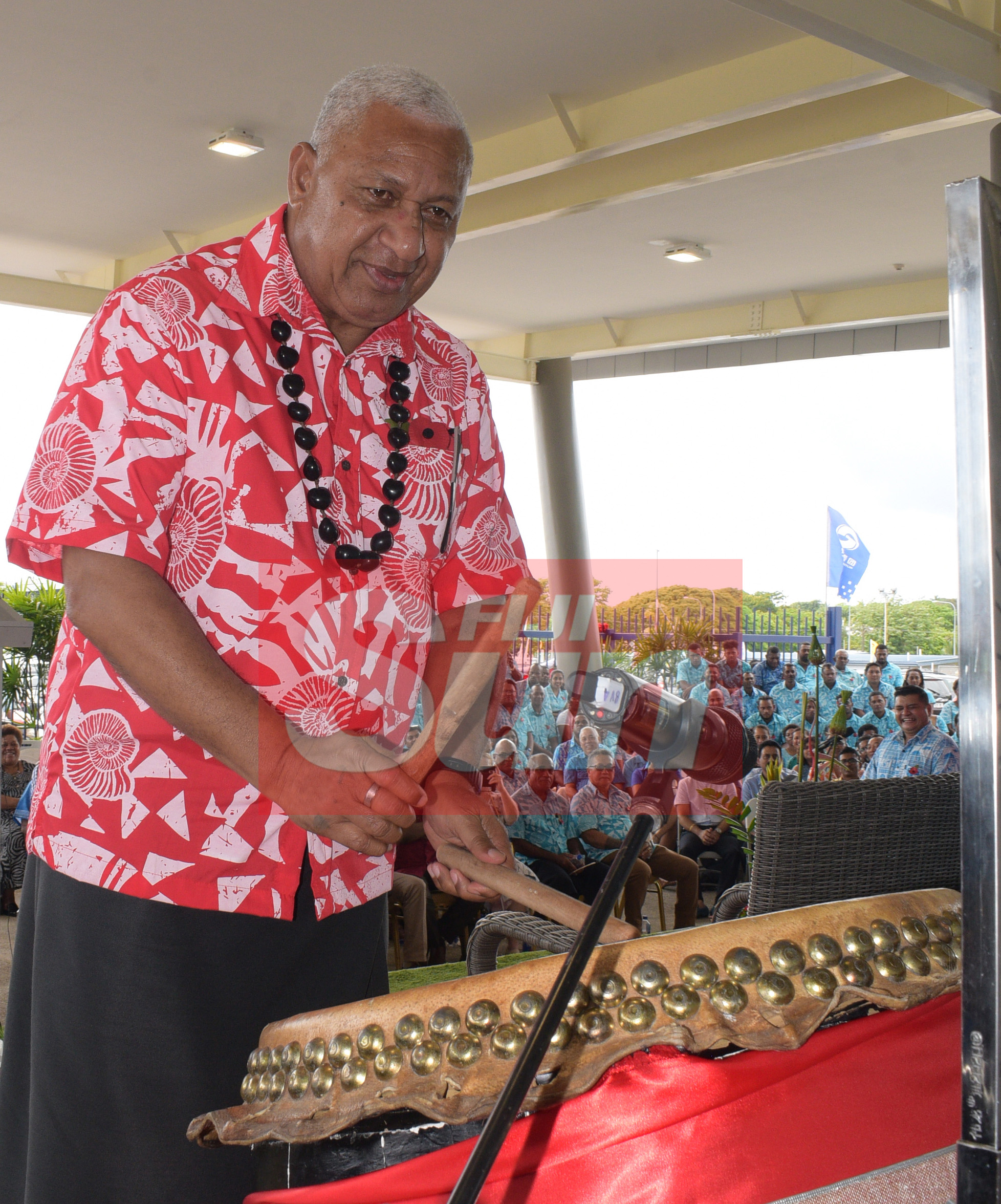 Prime Minister Voreqe Bainimarama beat the drum to mark the opening of the renovated Vodafone Arena on November 8, 2019. Photo: Ronald Kumar.
